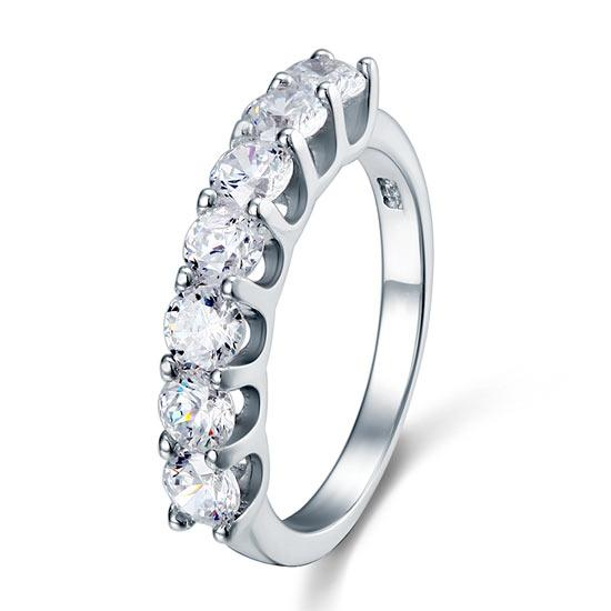 1.75 Carat Seven Stone Solid 925 Sterling Silver Wedding Ring Jewelry DromedarShop.com Online Boutique