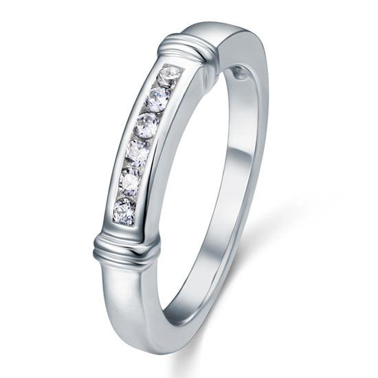 Channel Set Created Diamond Solid Sterling 925 Silver Wedding Ring XFR8044 - DromedarShop.com Online Boutique