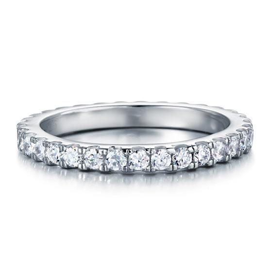 Eternity Ring Created Diamond Solid Sterling 925 Silver Wedding BandJewelry