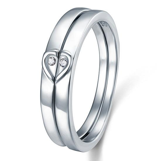 Heart Created Diamond 2-Pc Solid Sterling 925 Silver Wedding Ring Set XFR8048 DromedarShop.com Online Boutique