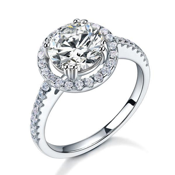 925 Sterling Silver Wedding Engagement Halo Ring 2 Carat Created Diamond XFR8199 DromedarShop.com Online Boutique
