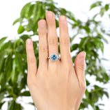 925 Sterling Silver Wedding Engagement Halo Ring 2 Carat Fancy Blue Created Diamond XFR8200 - DromedarShop.com Online Boutique