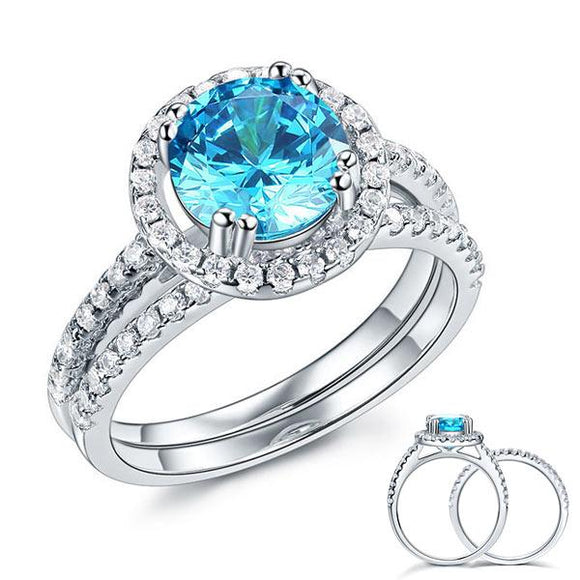 925 Sterling Silver Wedding Engagement Halo Ring Set 2 Carat Blue Created Diamond XFR8219 - DromedarShop.com Online Boutique