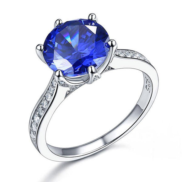 925 Sterling Silver Wedding Engagement Ring 3 Carat Blue Created Diamond Jewelry XFR8211 - DromedarShop.com Online Boutique