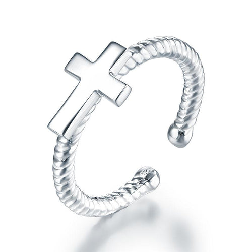 Kids Girls Cross Ring Solid 925 Sterling Silver Adjustable Jewelry XFR8267
