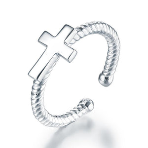 Kids Girls Cross Ring Solid 925 Sterling Silver Adjustable Jewelry XFR8267 - DromedarShop.com Online Boutique