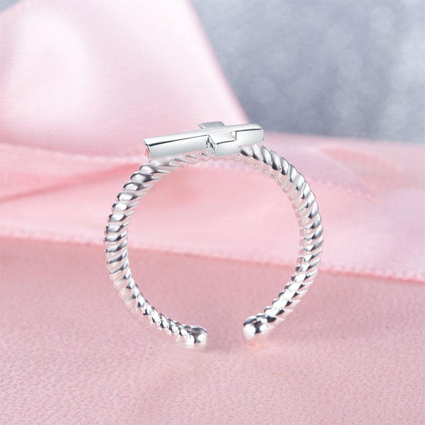 Kids Girls Cross Ring Solid 925 Sterling Silver Adjustable Jewelry XFR8267 DromedarShop.com Online Boutique