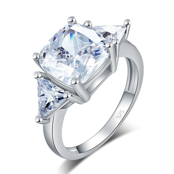 Cushion Cut 4 Carat Solid 925 Sterling Silver Ring Party Luxury Created Diamante Jewelry