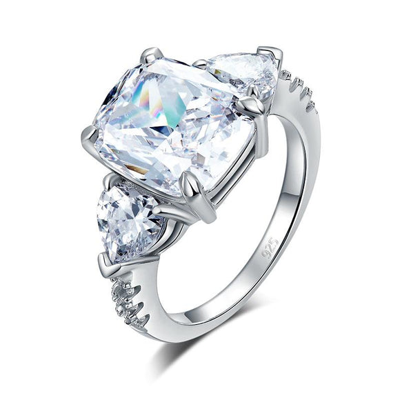 5 Carat Solid 925 Sterling Silver Ring Three-Stone Pageant Luxury Jewelry - DromedarShop.com Online Boutique