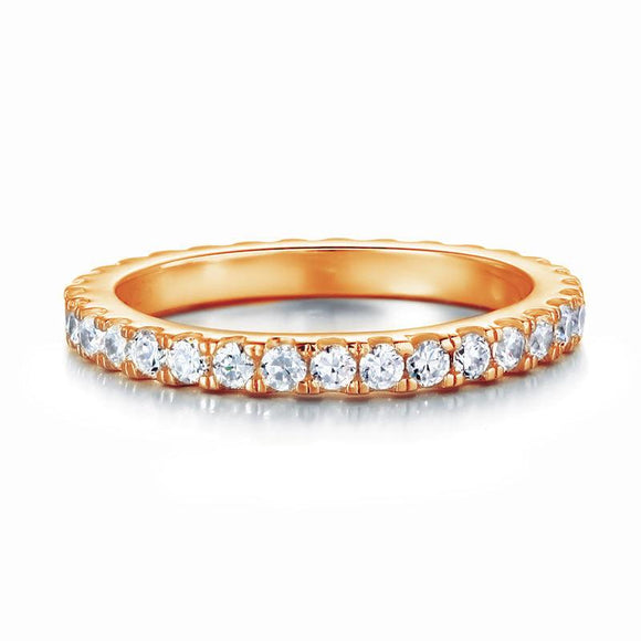 Eternity Ring Created Diamond Solid Sterling 925 Silver Rose Gold Plated Wedding Band - DromedarShop.com Online Boutique