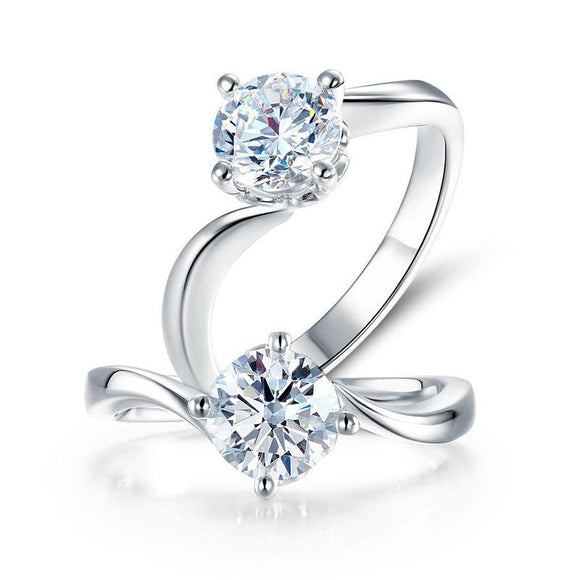 1 Carat Moissanite Diamond Swirl Solitaire Engagement 925 Sterling Silver Ring - DromedarShop.com Online Boutique