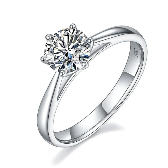 1 Carat Moissanite Diamond Classic 6 Claws Engagement 925 Sterling Silver Ring - DromedarShop.com Online Boutique