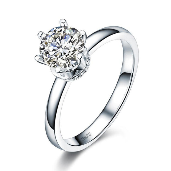 Moissanite Diamond Engagement 925 Sterling Silver Ring - DromedarShop.com Online Boutique