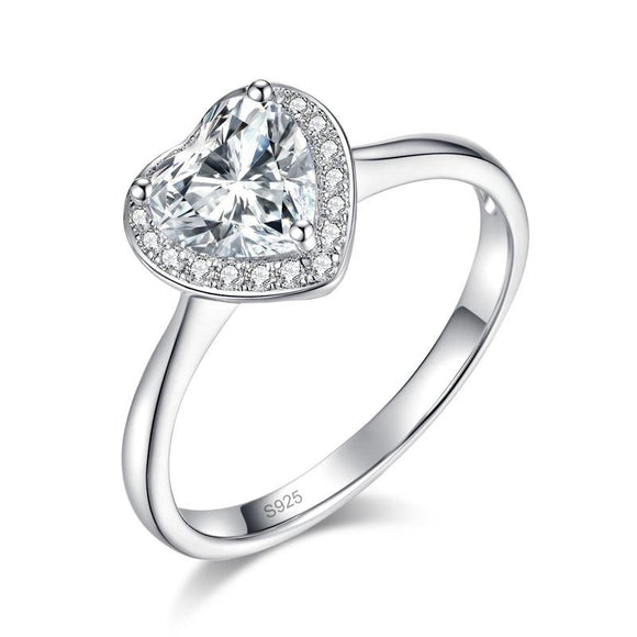 Heart Halo 1 Carat Moissanite Diamond Engagement 925 Sterling Silver Ring - DromedarShop.com Online Boutique