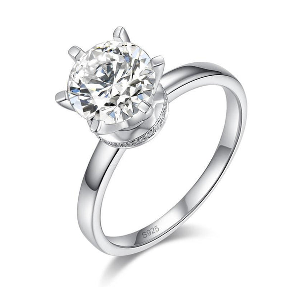 2 Carat Moissanite Diamond (8 mm) 6 Claws Engagement 925 Sterling Silver Ring - DromedarShop.com Online Boutique