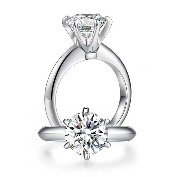 2.5 Carat Moissanite Diamond 9 mm Luxury 6 Claws Engagement 925 Sterling Silver Ring - DromedarShop.com Online Boutique