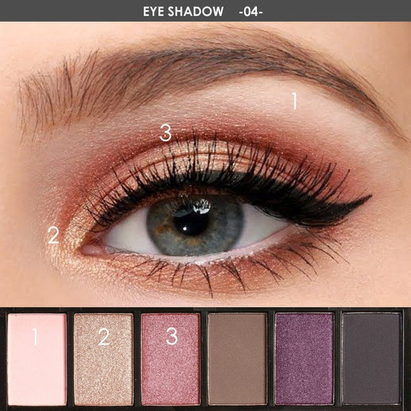 FOCALLURE 6 Colors Eyeshadow Waterproof Palette DromedarShop.com Online Boutique