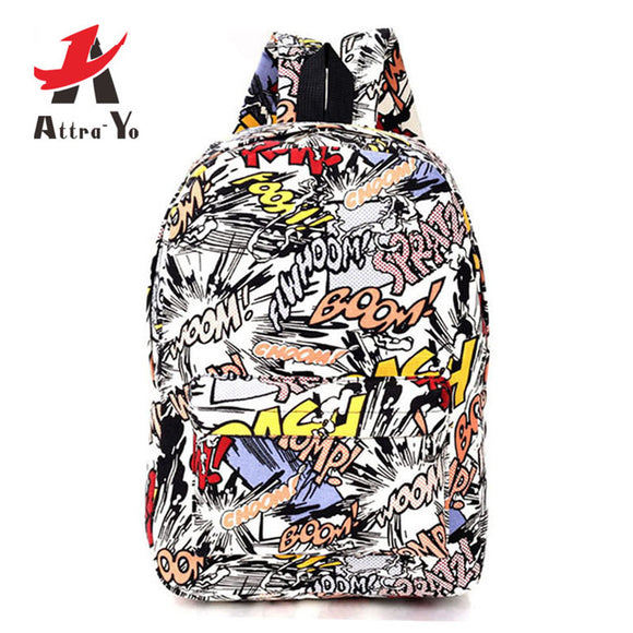 Graffiti Canvas Backpack DromedarShop.com Online Boutique