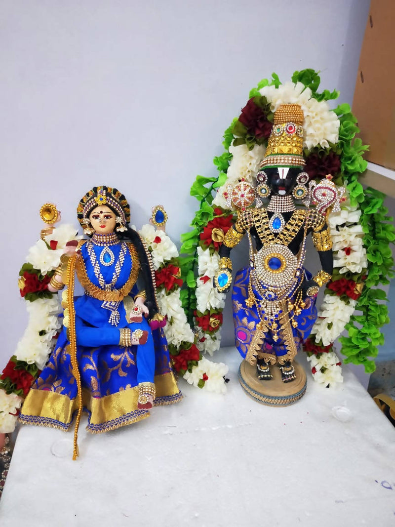 Fully handmade fabric doll with fiber face Thirupathi Balaji and Goddess Padmavati