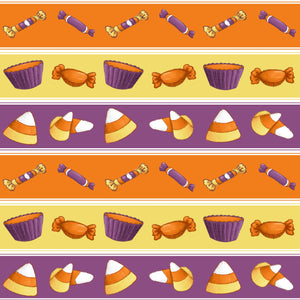 Sweet Halloween Candy Stripe Fabric