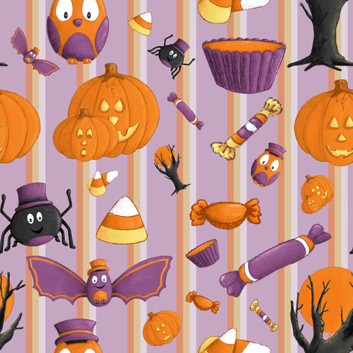 Sweet Halloween Stripe Fabric