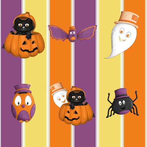 Sweet Halloween Cuties Stripe Fabric
