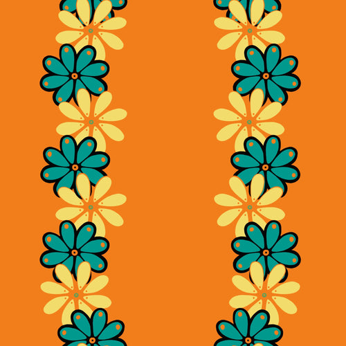 Dia de los Muertos Basic Orange Flowers Fabric