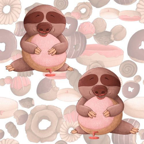 Sweet Sloths Eating Donut Scatter Fabric