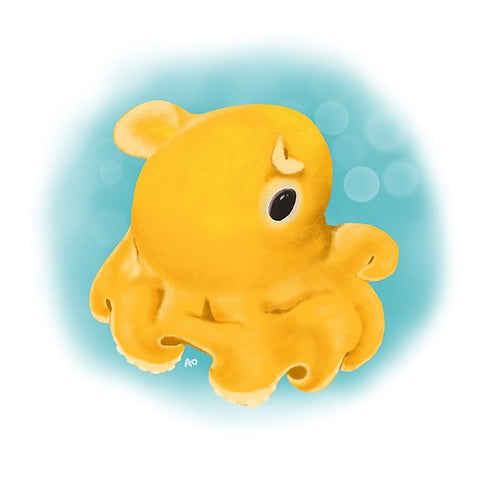 Yellow Dumbo Octopus Print