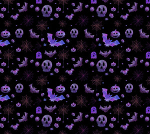 Spooky Purple Halloween Fabric
