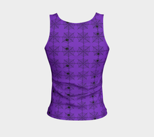 Spooky Purple Spiderwebs Fitted Tank Top