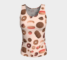 Sweet Sloths Tan Donut Scatter Fitted Tank Top