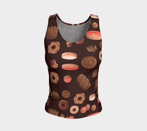 Sweet Sloths Dark Donut Scatter Fitted Tank Top