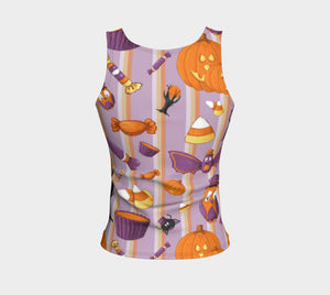Sweet Halloween Stripe Fitted Tank Top