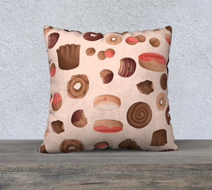 Sweet Sloths Tan Donut Scatter Pillowcase