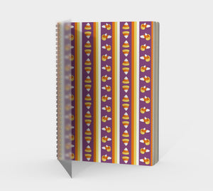 Sweet Halloween Candy Corn Stripe Spiral Notebook