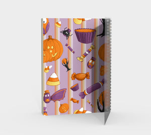 Sweet Halloween Stripe Spiral Notebook