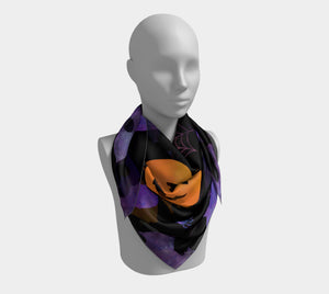 Spooky Orange and Purple Halloween Scarf