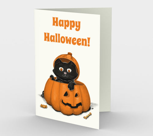 Happy Halloween Kitty Greeting Card (Set of 3)