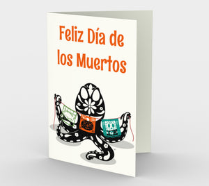 Dia de los Muertos Octopus Greeting Card (Set of 3)