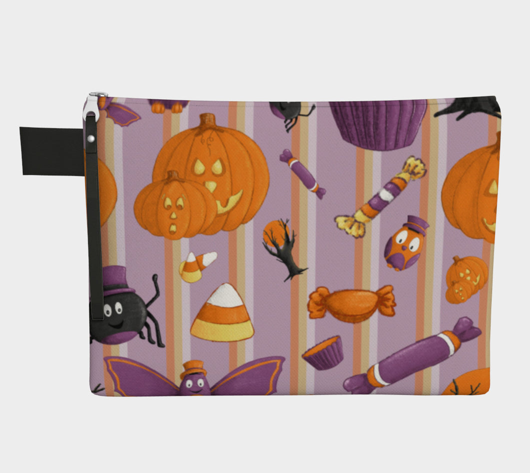 Sweet Halloween Stripe Zipper Carry-All