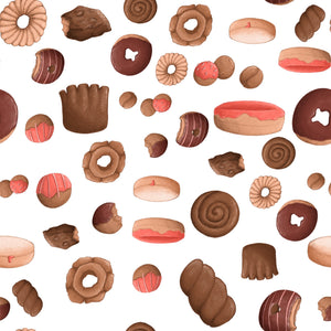 Sweet Sloths White Donut Scatter Fabric
