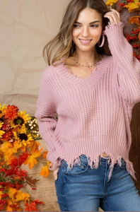 Frayed Mod Sweater - Pink Canary