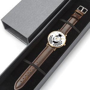 Borough Kings Genuine Leather Strap Water-resistant Quartz Watch (Gold with Indicators)