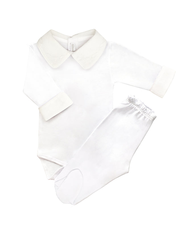 Cj Body Branco Bordado Masculino