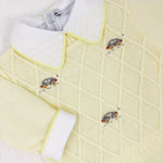 Body Bordado Chess Amarelo - Nina & Maria Baby Store