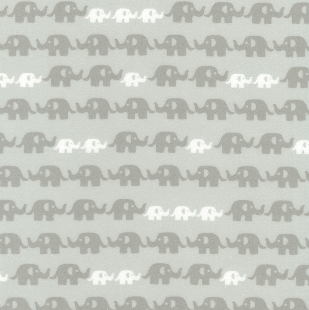 Flannel Pillowcase - Grey Elephants