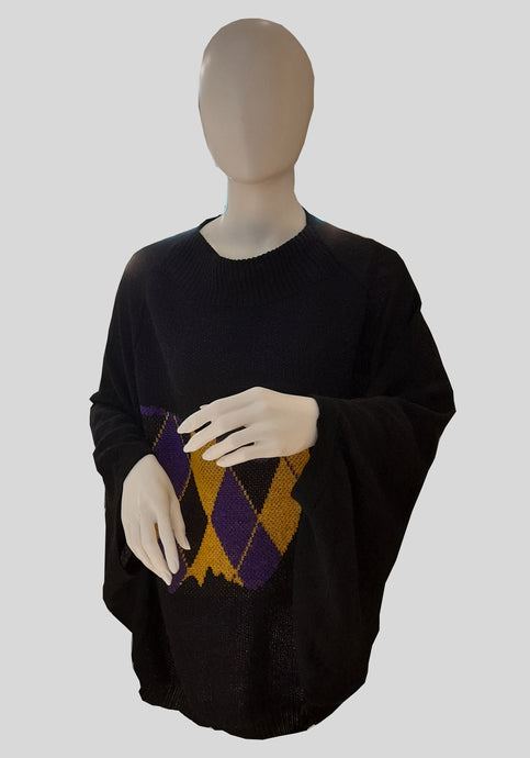 Knit Poncho with a Scottish Patch