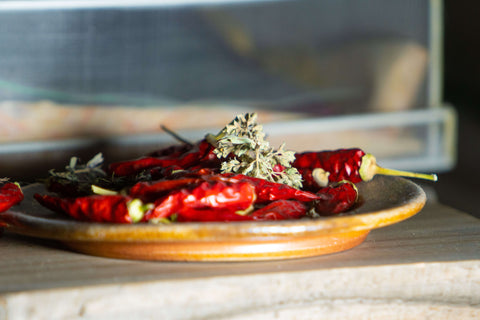 red chiles on a plate