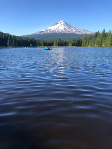 Mt Hood with snow and Trillium Lake in front of it